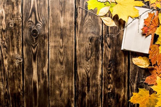 古い本と紅葉。木製の背景に。