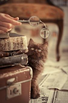 旧積み重ね書籍や古い眼鏡を持っている手