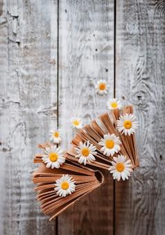 白いフィールドのヒナギクの花と古い本。 。テキスト用の空き容量