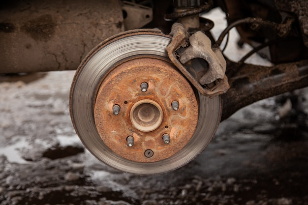 Old brake disc in the car, security