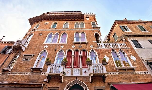 古い、レンガ、装飾、ファサード、建物、建物、ヴェネツィア