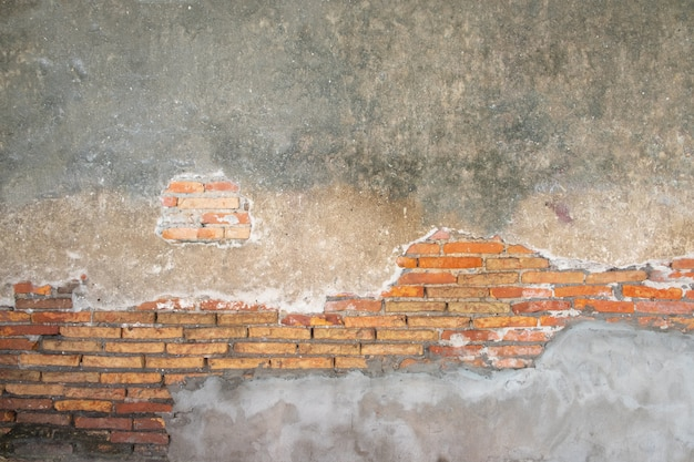 Old brick wall in antiquity and damaged
