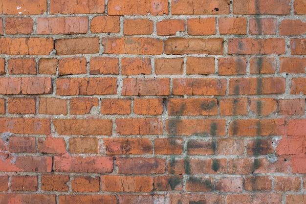 古いレンガの壁。古いヴィンテージのレンガの壁の背景