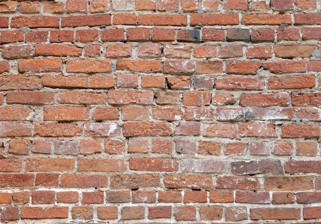 古いレンガの壁。素朴なスタイルの古いレンガのレンガ。破壊された石垣の構造と模様。コピースペース。