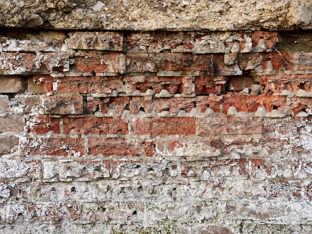 Old brick wall near the river, white plaque, texture background
