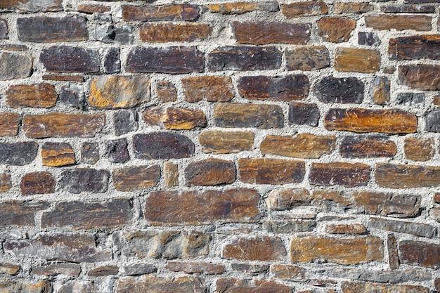 Старая кирпичная стена с подробными текстурами из цемента и каменного кирпича