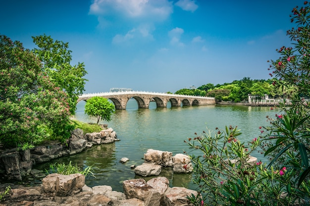 Old bridge in chinese park