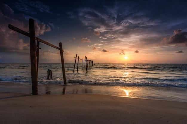 Old bridge at pilai beach, takua thung district , phang nga , thailand.