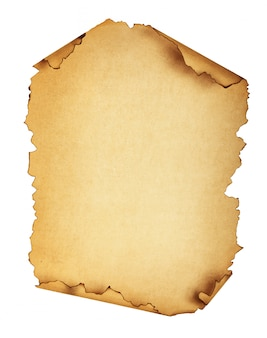 Old brown paper isolated on white