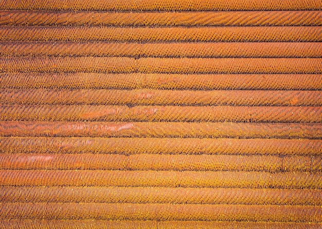 Old brown ribbed steel background