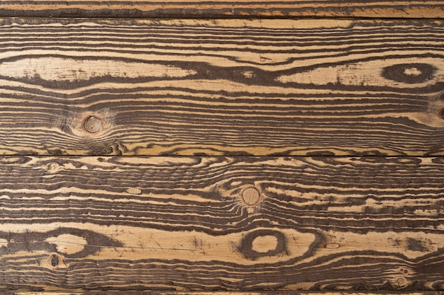 Old brown wood background made of dark natural wood in grunge style natural raw planed texture of coniferous pine the surface of the table with copy space for text