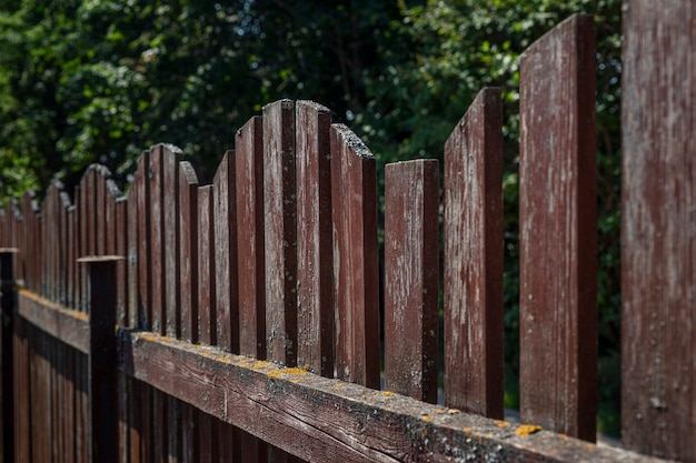 Old brown wooden fence. side view. close-up.