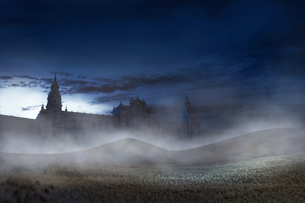 Old building with scary mist on the night