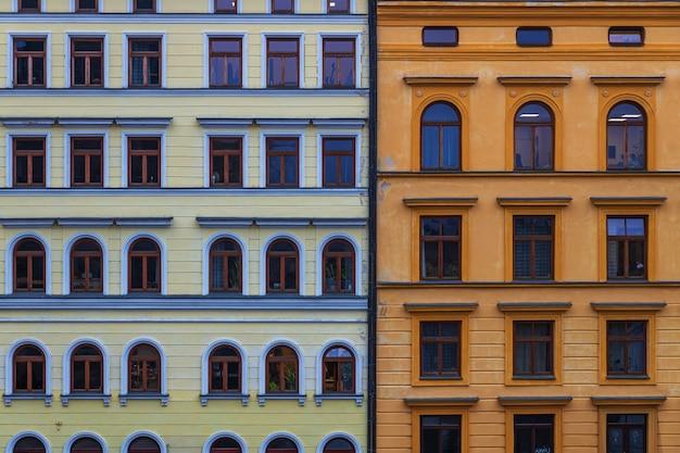 Old buildings facades in prague city, czech republic