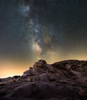 Old bunker of war with the milky way on the south coast of spain