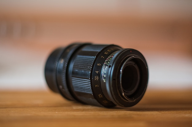 오래 된 카메라 렌즈 마킹 클로즈업