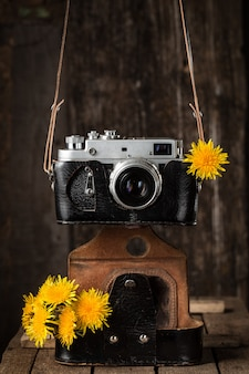 Old camera and yellow dandelions vintage still life