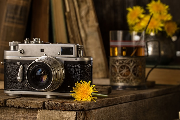 Old camera and yellow dandelions