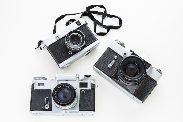 Old cameras isolated.