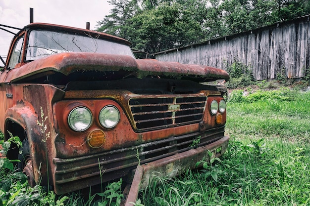 Old car on the grass