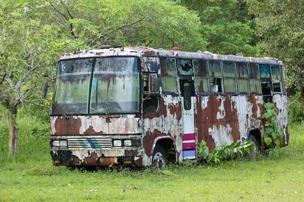 Старая машина осталась припаркованной в лесу.