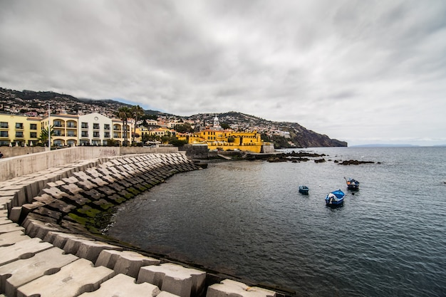 Old castle in funchal, capital city of madeira, portugal at sunny summer day. travel concept