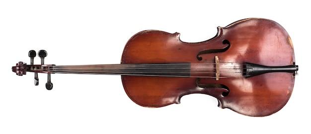 Старая виолончель на белом фоне