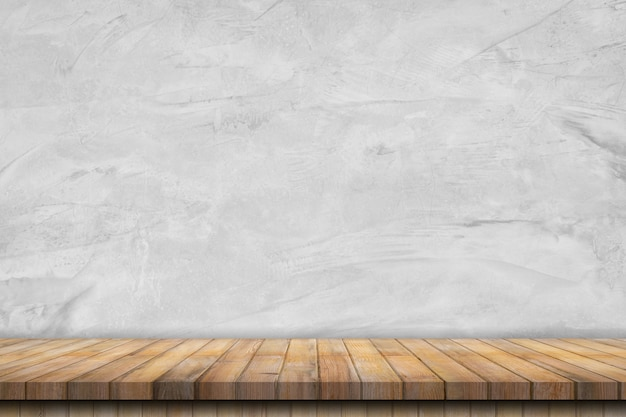 Старая цементная стена интерьер винтаж и деревянный стол