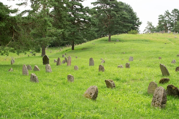An old cemetery with ancient stone tombstones
