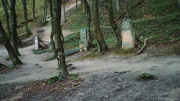 유태인 묘비가있는 오래된 묘지