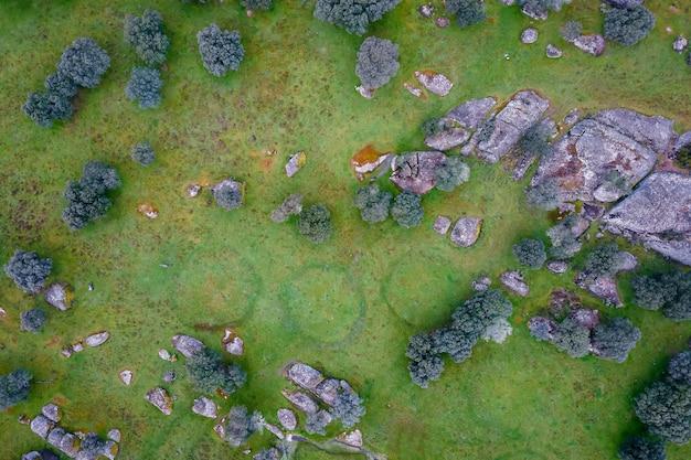 Старые круги .. вид с воздуха на деэса де ла луз. Premium Фотографии