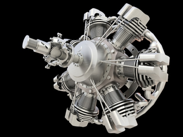 Old circular aircraft internal combustion engine. 3d rendering.