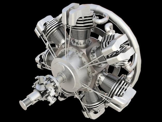Old circular aircraft internal combustion engine. 3d rendering.