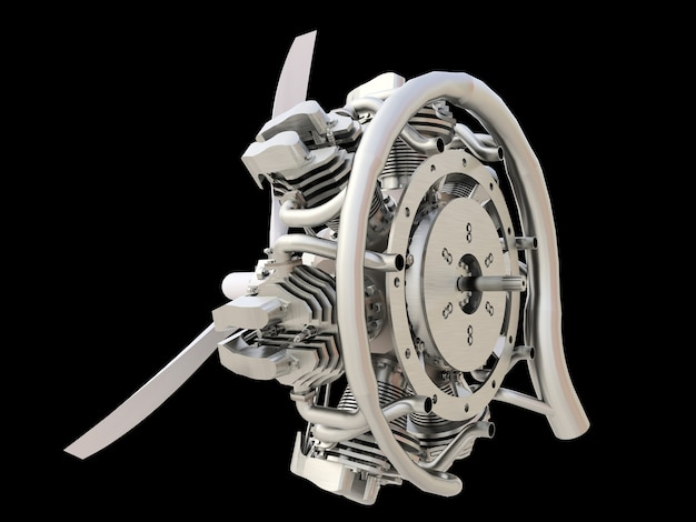 Old circular aircraft internal combustion engine with propeller and blades. 3d rendering.