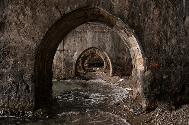 Old city aquatic tunnels on coast line alanya