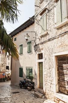 Old city street view of europe, croatia, rovinj.