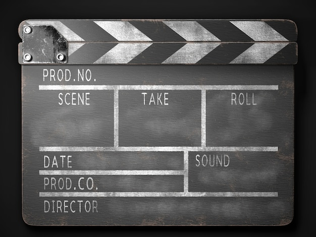 Old clapperboard 3d rendering