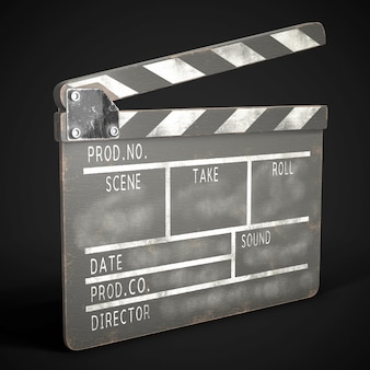 Old clapperboard on black. 3d rendering.