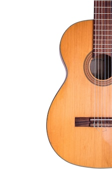 The old classical guitar  on white background