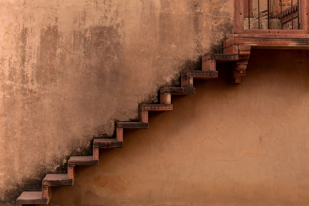Old clay staircase temple in fatehpur sikri complex rajasthan india.