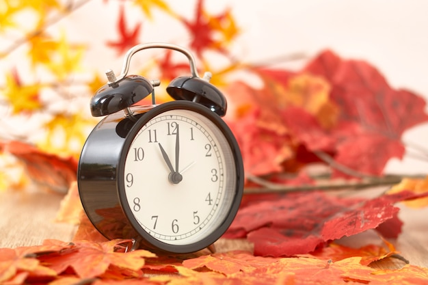 Old clock on autumn leaves on wooden table