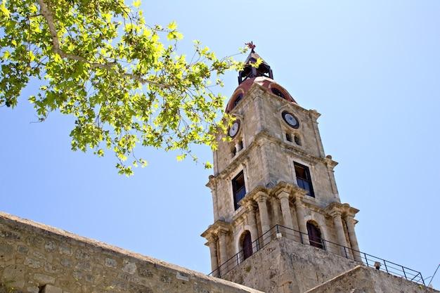 ロードス島、ギリシャの古い時計塔
