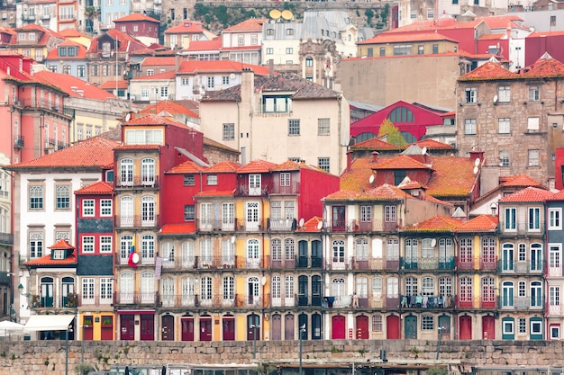 Old colorful houses in ribeira, porto, portugal