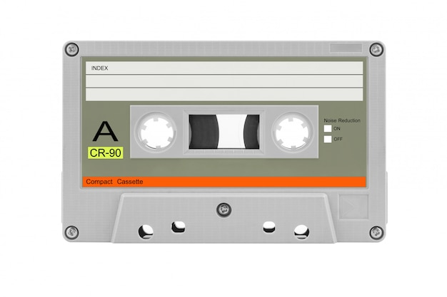Old compact cassette tape isolated
