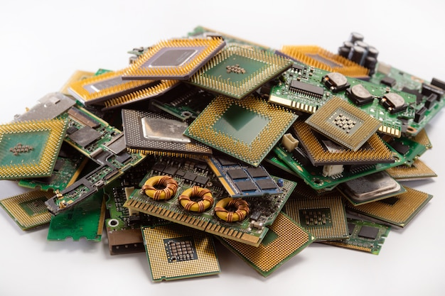 Old computer circuit boards from recycle industry