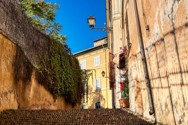 Old cozy street with a staircase in rome, italy during summer sunny day.