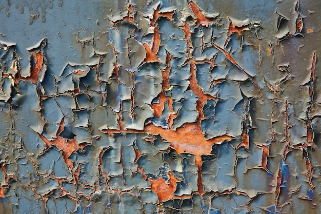 Old cracked paint on a sheet of metal, closeup shot