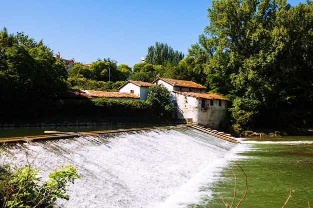 Old dam on arga river. pamplona