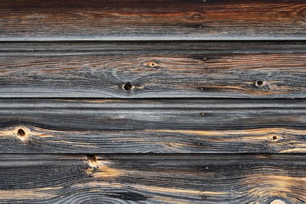 古い暗いテクスチャの木の背景、古い茶色の木のテクスチャの表面、上面図、コピースペース