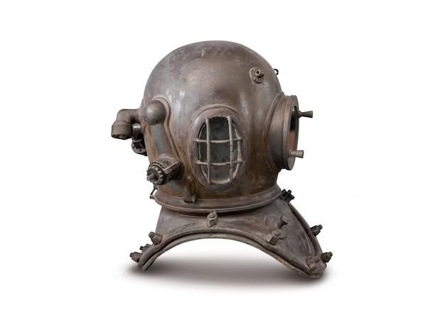 Old deep sea diving metal helmet isolated on white